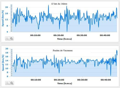 Comparatif 10 km du 14eme foulees de vincennes